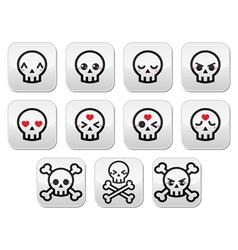 Kawaii cute Halloween skull buttons set vector image vector image