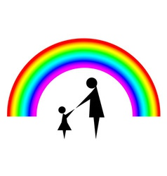 Mother and child with rainbow background vector image vector image