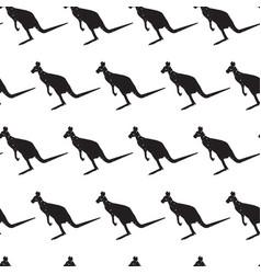 Seamless pattern with black silhouette kangaroo vector
