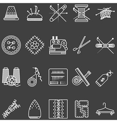 Set of white line icons for sewing vector image