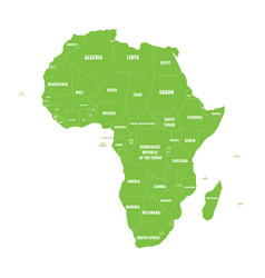 simple flat green map of africa continent with vector image vector image