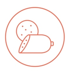 Sliced wurst line icon vector image vector image