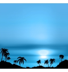 Sunset background with sea and palm trees vector image vector image