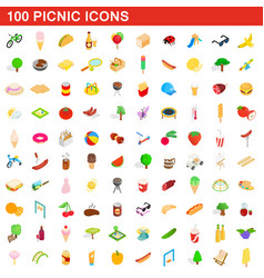 100 picnic icons set isometric 3d style vector