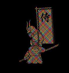 2 samurai composition with flag vector