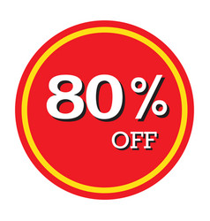 80 off discount price tag isolated vector image