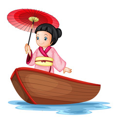 a japanese girl on wooden boat vector image