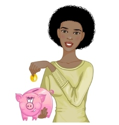 African american woman putting coin in piggy bank vector image