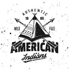 American indian wigwam vintage emblem vector