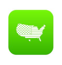 american map icon digital green vector image