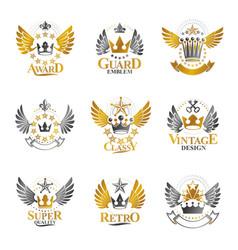 ancient crowns emblems set heraldic design vector image