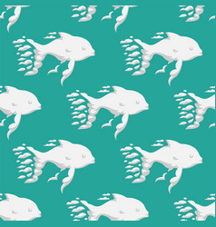Animal clouds silhouette whale seamless pattern vector
