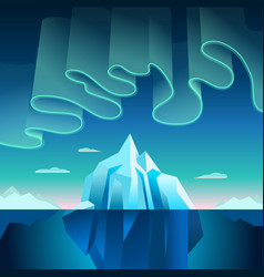 Aurora borealis and iceberg vector