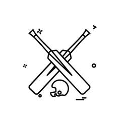bat bats helmet cricket icon design vector image
