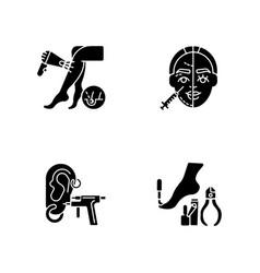 beauty procedures black glyph icons set on white vector image