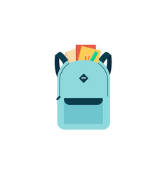blue school bag with education supplies vector image