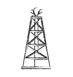 Blurred silhouette cartoon oil crude tower vector