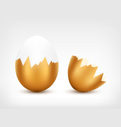 broken golden egg vector image