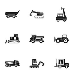 building heavy vehicle icon set simple style vector image