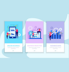 business analysis flat banners vector image