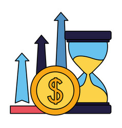 Business hourglass arrows and coin money vector