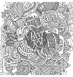 Cartoon cute doodles hand drawn Beer frame design vector image