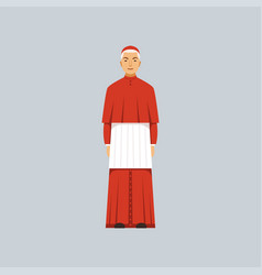 Catholic cardinal in red robe representative of vector