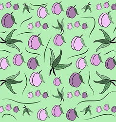 Cherry plum Fruit pattern from plum with leaf card vector image