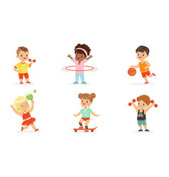 children engage in various sports set vector image