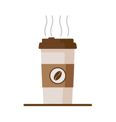 coffee cup icon with coffee beans on white vector image