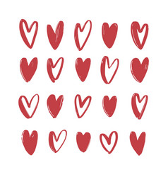 collection of various red hand drawn hearts vector image