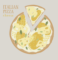 colorful of italian pizza cheese vector image