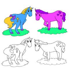 coloring fantastic horses vector image