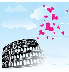 colosseum and heart love vector image