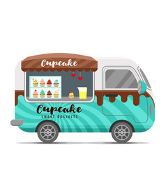 Cupcake street food caravan trailer vector
