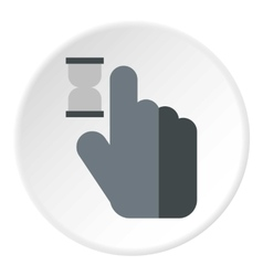 Cursor hand in anticipation icon flat style vector