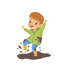 Cute boy jumping in dirt cute naughty kid bad vector