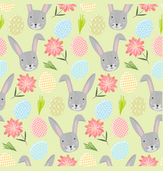 cute cartoon pattern with rabbits eggs and flower vector image
