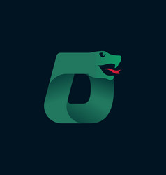 D letter logo with snake head silhouette vector