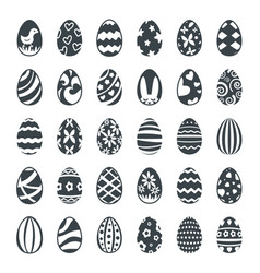 Decorated black easter eggs icon set vector