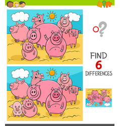 differences game with pigs farm animals vector image