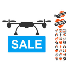 Drone sale icon with dating bonus vector