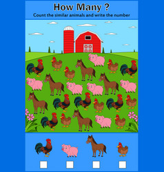 education counting game of farm animals vector image
