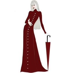 Elegant lady in a long red coat vector