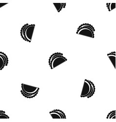 Empanadas de pollo pattern seamless black vector
