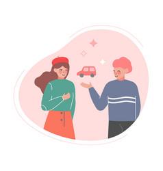 Family couple dreaming car future financial vector