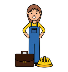 Female builder worker with helmet and portfolio vector