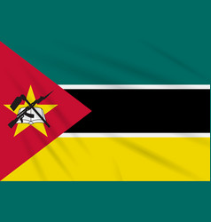 Flag mozambique swaying in wind realistic vector