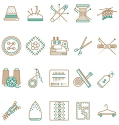 Flat line icons collection of sewing items vector image