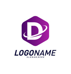 Font with planet logo design concepts letter d vector